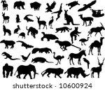silhouettes wild animals | Shutterstock .eps vector #10600924