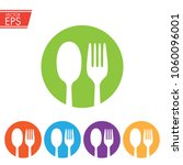 fork and spoon in colored... | Shutterstock .eps vector #1060096001
