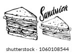 sketch of sandwich. hand drawn... | Shutterstock .eps vector #1060108544