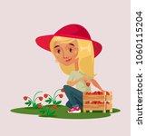 little happy smiling girl... | Shutterstock .eps vector #1060115204
