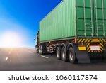 truck on highway road with... | Shutterstock . vector #1060117874