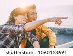 happy gay couple dating on the... | Shutterstock . vector #1060123691
