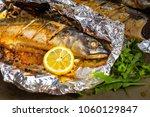 baked mackerel with salt  lemon ... | Shutterstock . vector #1060129847