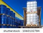 discharge of plastic barrels....   Shutterstock . vector #1060132784