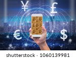 holding smart phone showing the ... | Shutterstock . vector #1060139981