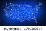 polygon usa map with blockchain ... | Shutterstock . vector #1060153874