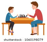 father and son playing chess... | Shutterstock .eps vector #1060198079