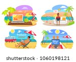 freelance and distant work  man ... | Shutterstock .eps vector #1060198121