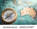 old vintage retro compass on... | Shutterstock . vector #1060219487