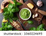 pesto sauce cooking. basil ... | Shutterstock . vector #1060224695