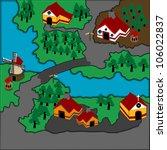 rustic village illustration | Shutterstock .eps vector #106022837