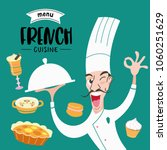 french cuisine. the cook holds... | Shutterstock .eps vector #1060251629