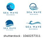 sea waves logo set  sun waves... | Shutterstock .eps vector #1060257311