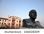 one of the very last monument to Vladimir Lenin in Western Europe stands in Cavriago, Italy - stock photo