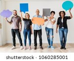 people carryng speech bubble... | Shutterstock . vector #1060285001