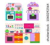 toy kitchen set with utensil... | Shutterstock .eps vector #1060292564