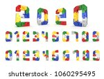 colorful number block brick... | Shutterstock . vector #1060295495