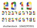 colorful number block brick... | Shutterstock . vector #1060295501