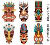 tiki mask vector set of cut... | Shutterstock .eps vector #1060297547