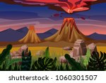 volcano eruption  background...   Shutterstock .eps vector #1060301507