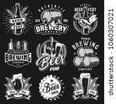 set emblems with beer objects.... | Shutterstock .eps vector #1060307021
