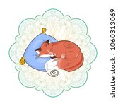 raster image of a cute fox on a ... | Shutterstock . vector #1060313069
