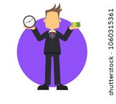 businessman holding clock and... | Shutterstock .eps vector #1060315361