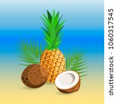 ripe pineapple and coconut... | Shutterstock .eps vector #1060317545