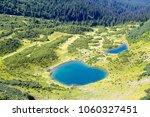 green fir trees and blue lake... | Shutterstock . vector #1060327451