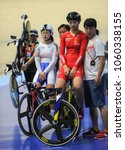 Small photo of Malaysia, February 19th -20th Feb 2018: China's coach and woman sprinter to race against Korea during 38th Asian Track Championships 2018 at National Velodrome in Nilai.