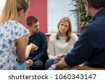 members of support group... | Shutterstock . vector #1060343147