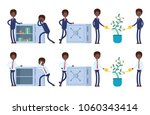stands at the open safe full of ... | Shutterstock .eps vector #1060343414