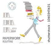 the clerk carries a bunch of... | Shutterstock .eps vector #1060345631