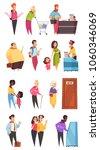 people characters in queues in... | Shutterstock .eps vector #1060346069