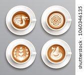 Latte Coffee Realistic Set Wit...