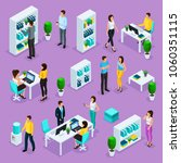 set of isometric people and... | Shutterstock .eps vector #1060351115