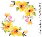 yellow flowers. watercolor... | Shutterstock . vector #1060354025