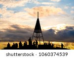 silhouette scene of the top of... | Shutterstock . vector #1060374539