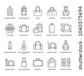 luggage flat line icons. carry... | Shutterstock .eps vector #1060375694