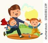 dad with kids walking park ... | Shutterstock . vector #1060381139