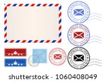 postal elements. envelope ... | Shutterstock . vector #1060408049