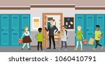 cartoon school interior male... | Shutterstock .eps vector #1060410791