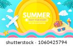 summer background with travel... | Shutterstock .eps vector #1060425794