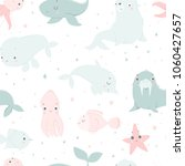 cute sea creatures  hand drawn... | Shutterstock .eps vector #1060427657