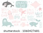 cute vector ocean set with sea... | Shutterstock .eps vector #1060427681