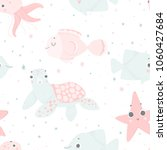 cute sea creatures  hand drawn... | Shutterstock .eps vector #1060427684