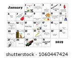 january 2019 monthly calendar... | Shutterstock . vector #1060447424