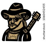 country musician with cowboy... | Shutterstock .eps vector #1060452455