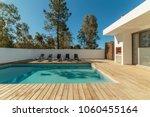 modern house with garden... | Shutterstock . vector #1060455164