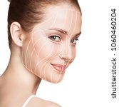 graphic lines showing facial... | Shutterstock . vector #1060460204
